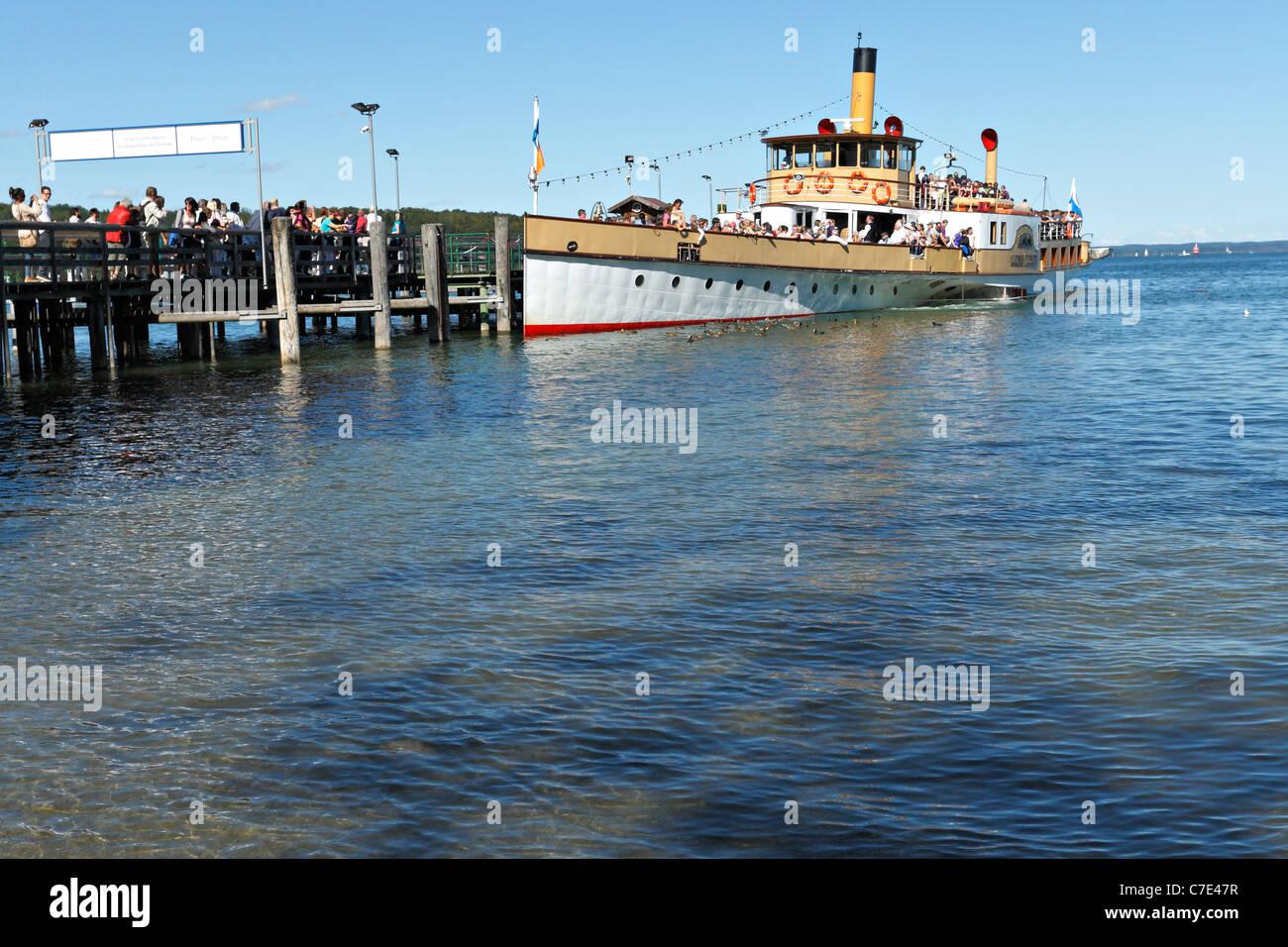 Chiemsee Ferry Boat at the Herreninsel, Chiemgau Upper Bavaria Germany - Stock Image