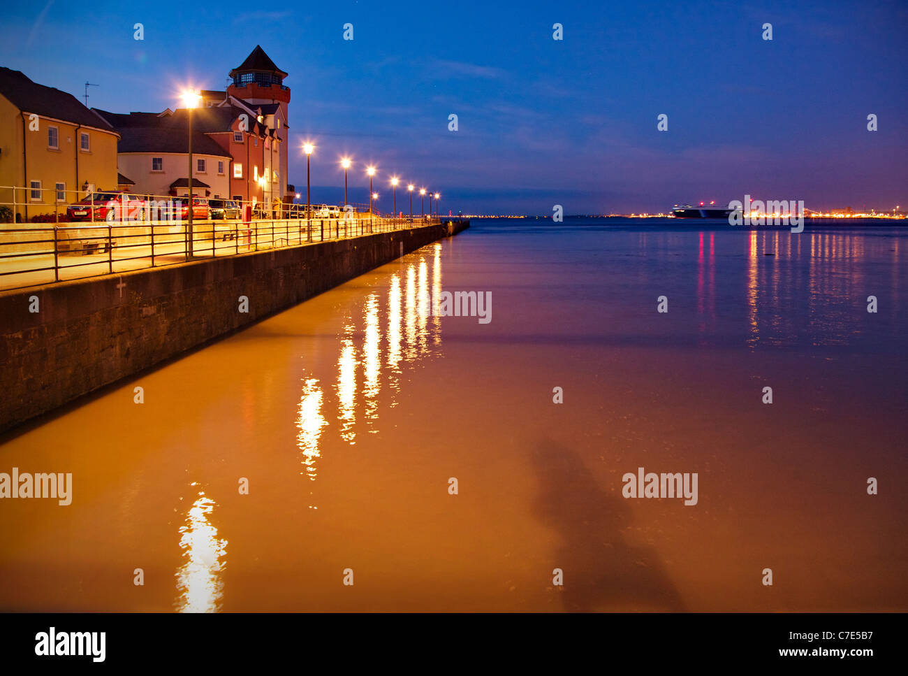 Portishead docks  and the river Severn estuary by night - Stock Image