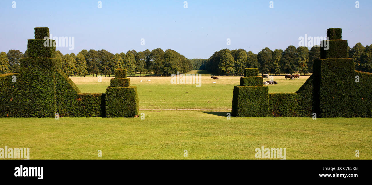 The view looking east from the yew hedged garden of Hardwick Hall in Derbyshire over the ha ha to the parkland beyond - Stock Image