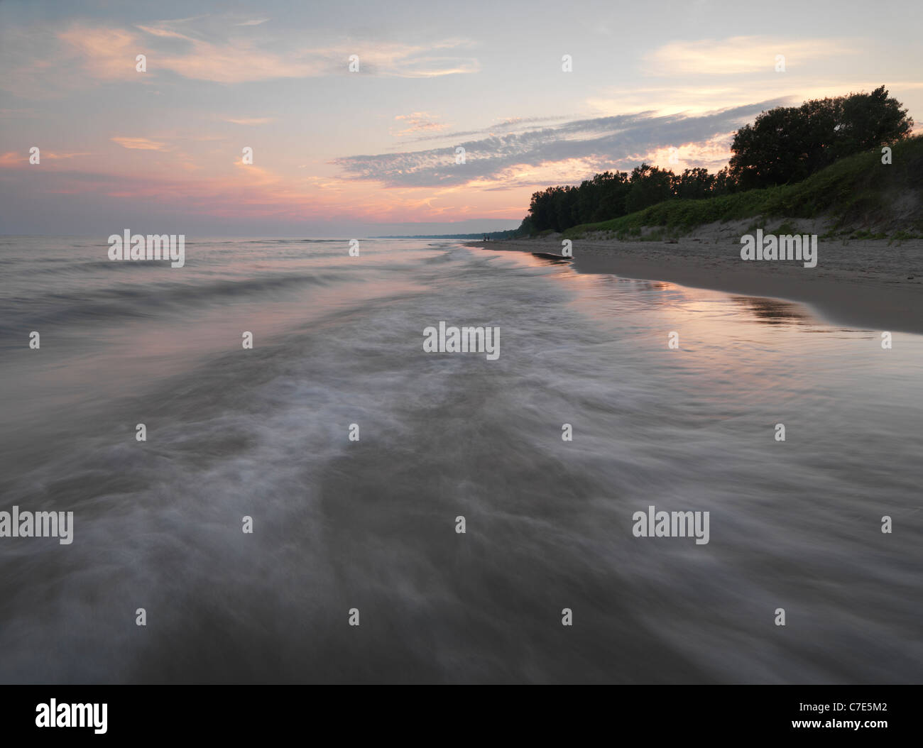 Lake Erie Long Point Beach at sunset, Ontario, Canada - Stock Image