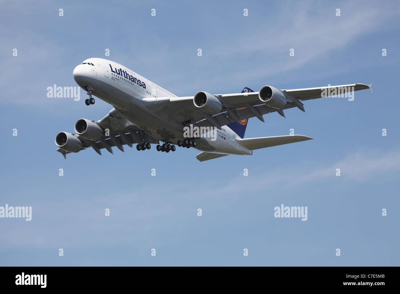 Airbus A380 Lufthansa coming into land - Stock Image