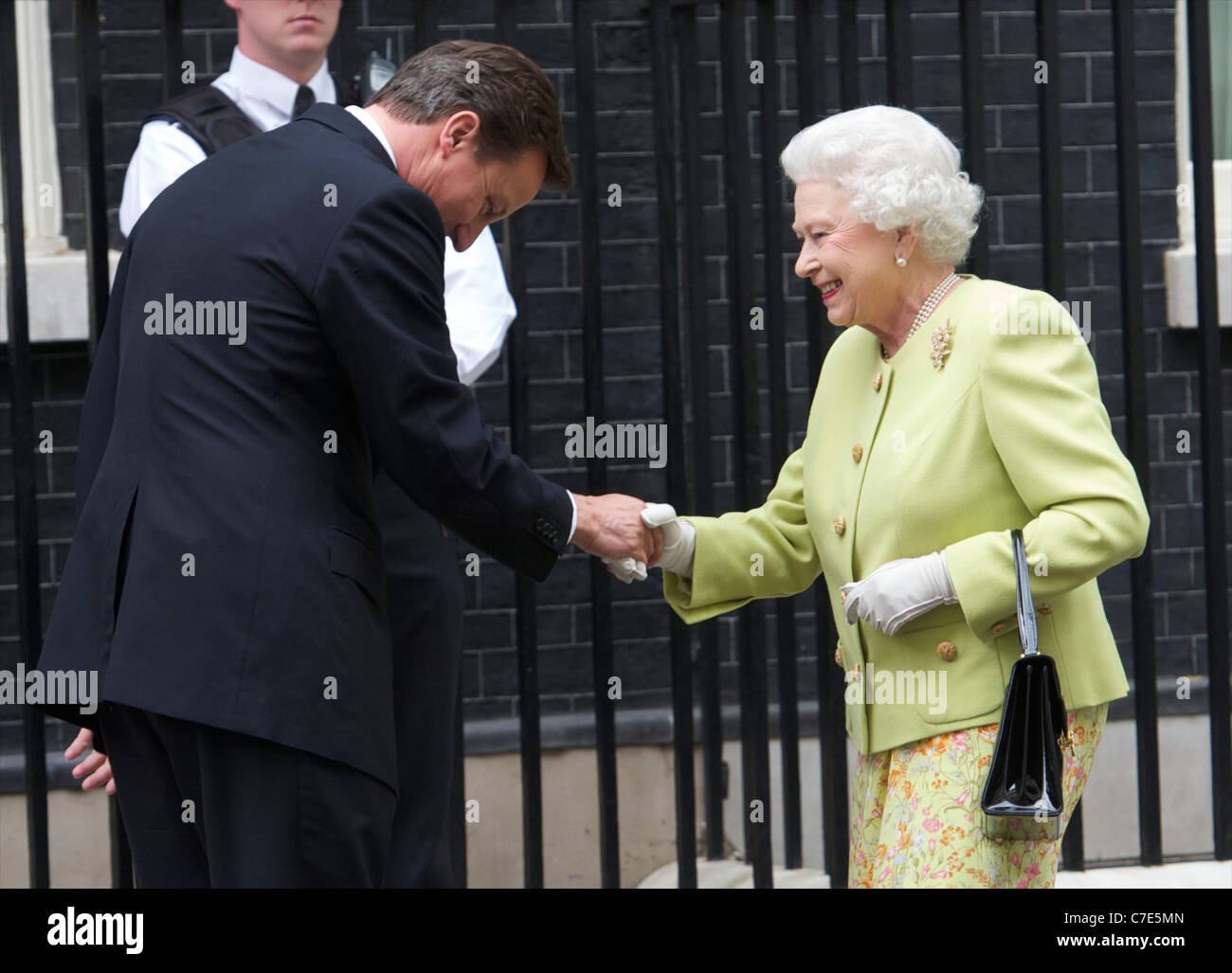HRH The Queen and Duke of Edinburgh meet David and Samantha Cameron out side ten Downing street to Celebrate his - Stock Image