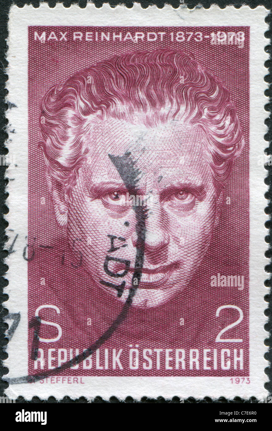 A stamp printed in Austria, is dedicated to the 100th anniversary of Max Reinhardt, Theatrical Director - Stock Image