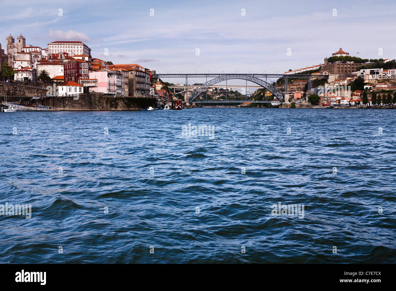 Ponte Dom Luis, bridge built by Gustave Eiffel in Porto, River Douro - Stock Image