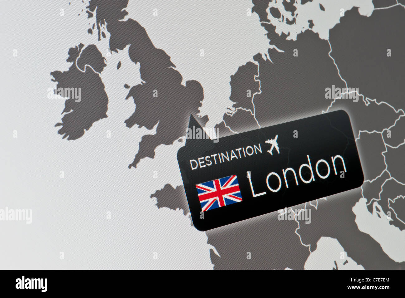 A close-up of a computer display indicating the location of Heathrow Airport, London, United Kingdom. - Stock Image