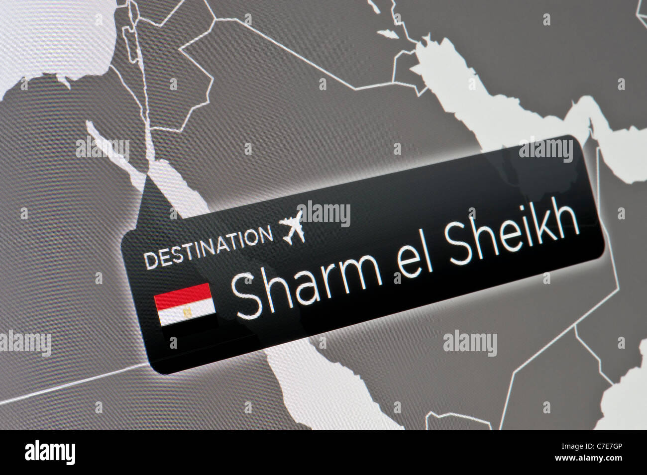A close-up of a computer display indicating the location of Sharm el Sheikh International Airport, Egypt. - Stock Image