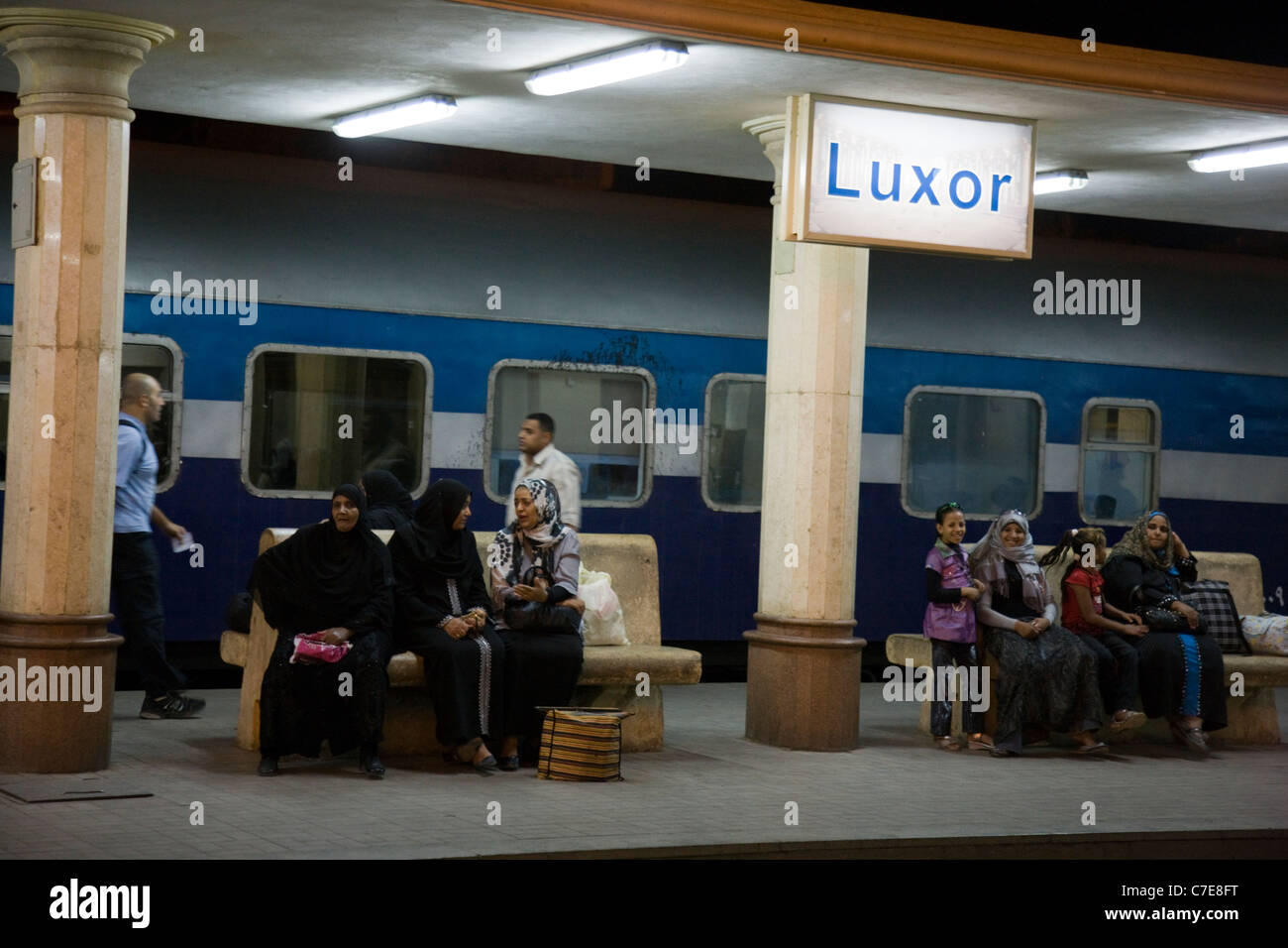 Waiting for the sleeper train on the platform at Luxor - Stock Image