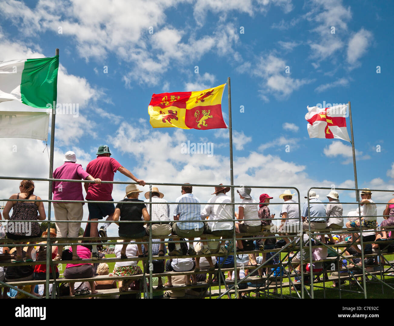 Spectators at the annual Highland Games organised by the local Caledonian Society. Waipu, Northland, North Island, - Stock Image