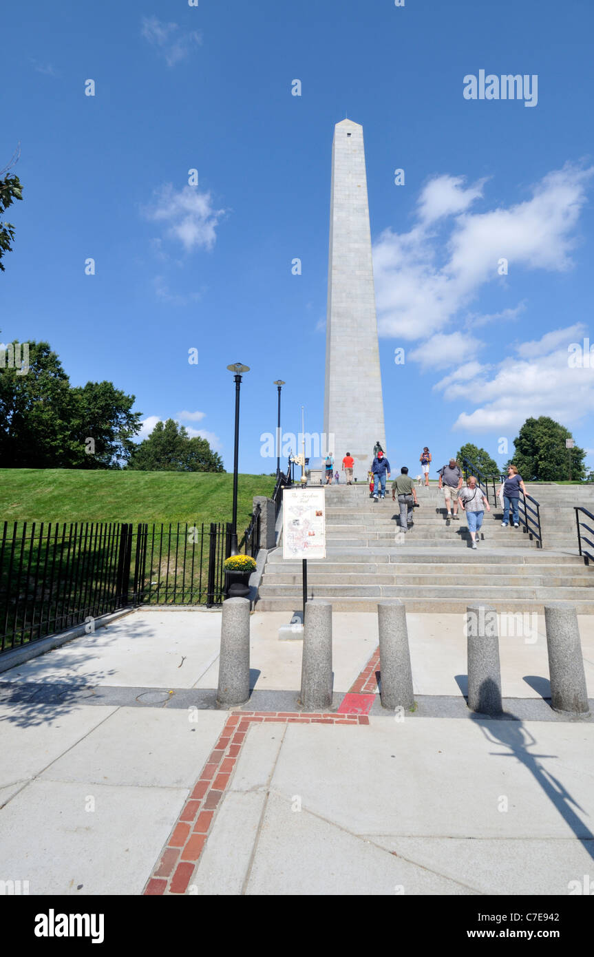 Looking up at the historic Bunker Hill Monument, located on Breeds Hill Charlestown Massachusetts. USA. - Stock Image