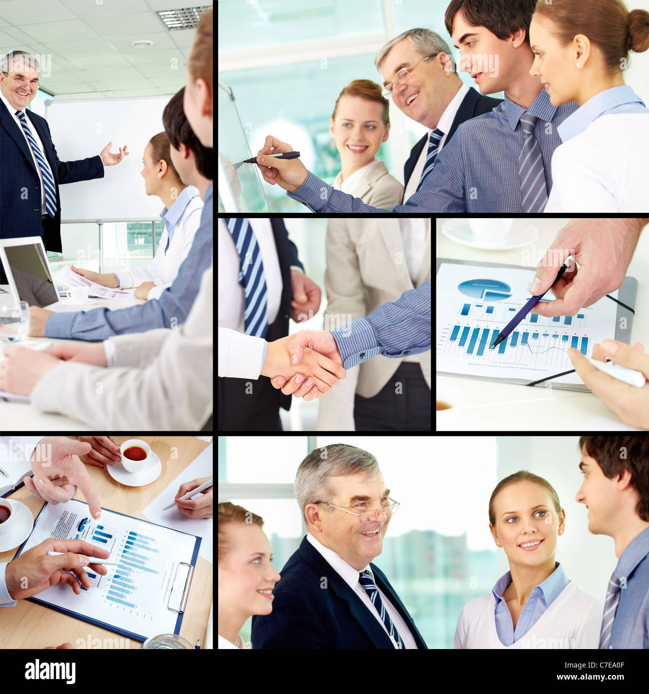 collage of successful colleagues working in office