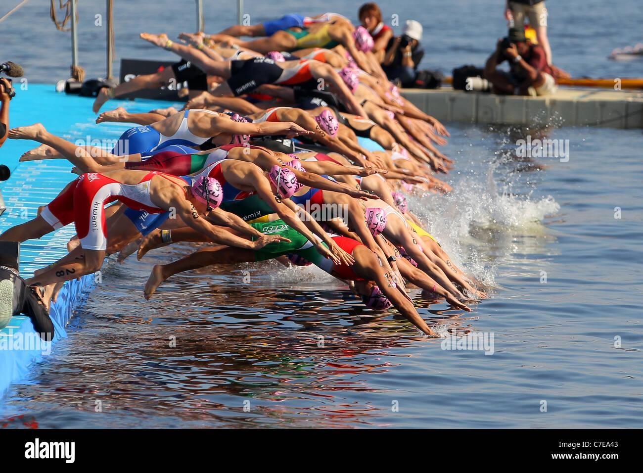 The ambiance shot of the 2011 ITU World Championship Yokohama in Yokohama. - Stock Image