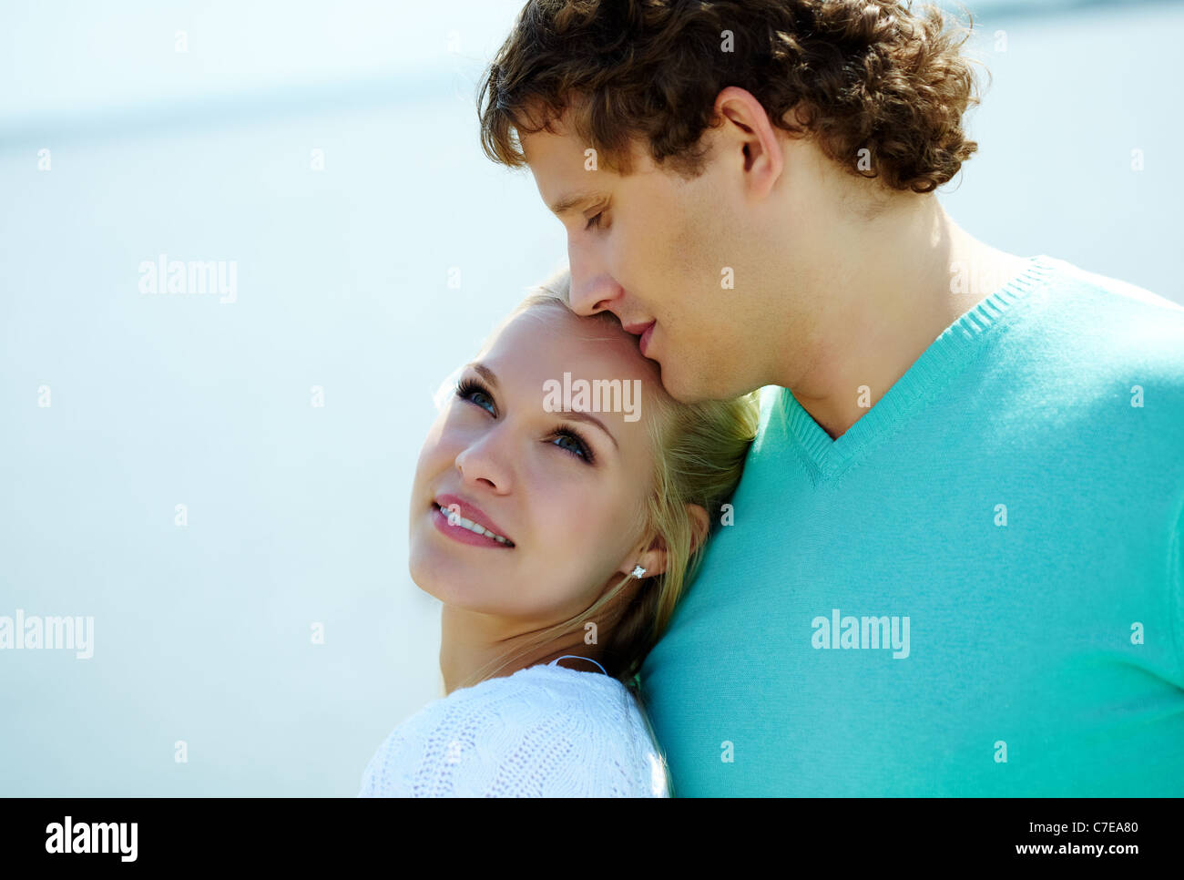 Photo of happy couple having nice time outdoors - Stock Image