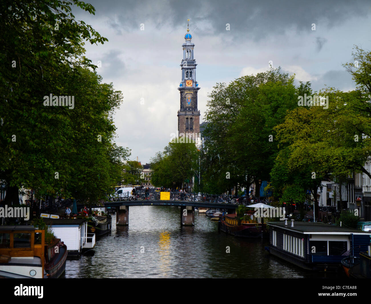 Westerkerk seen from the Prinsengracht. - Stock Image
