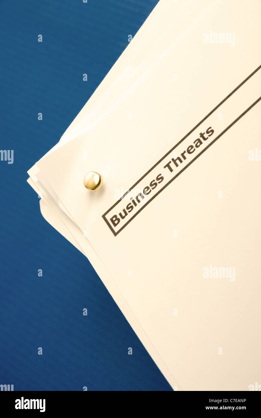 Business documents with with the heading Business threats - S.w.o.t analysis. - Stock Image