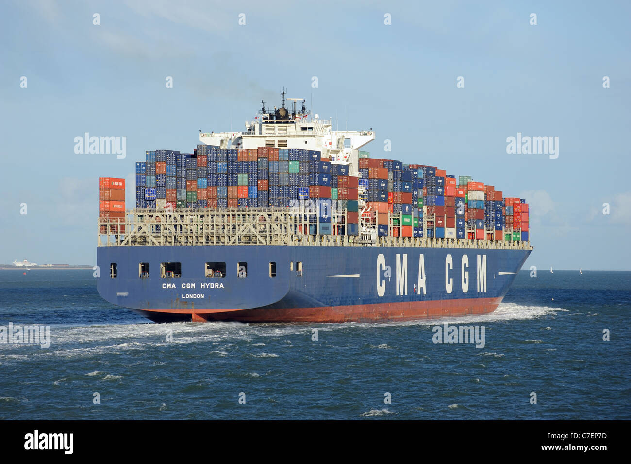 CMA CGM Hydra container carrier ship underway on The Solent southern England UK - Stock Image