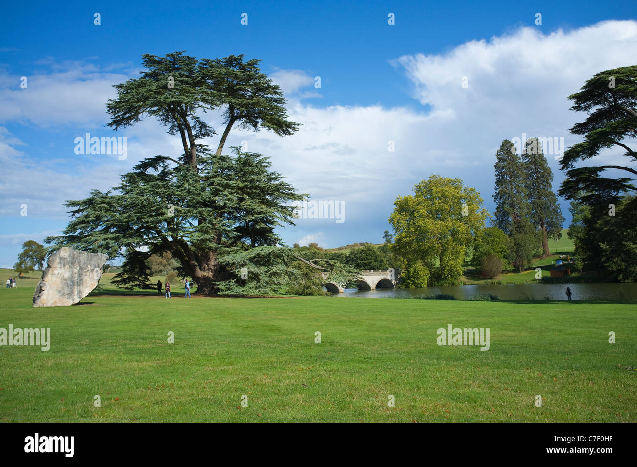 Compton Verney - a Capability Brown designed landscape with 18thC bridge of classical design by Georgian Architect Robert Adam. Stock Photo