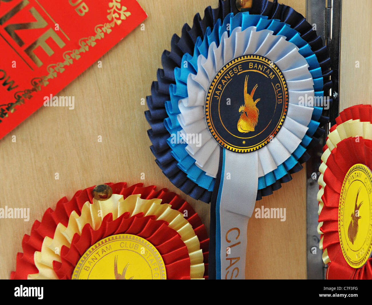 A rosette for award winning poultry from the Japanese bantam club Stock Photo