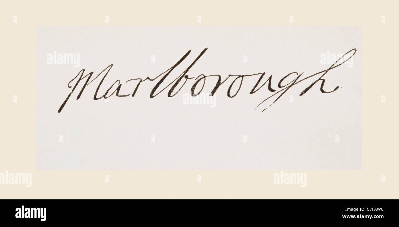 John Churchill, 1st Duke of Marlborough, 1650 to 1722. English general. His signature. - Stock Image