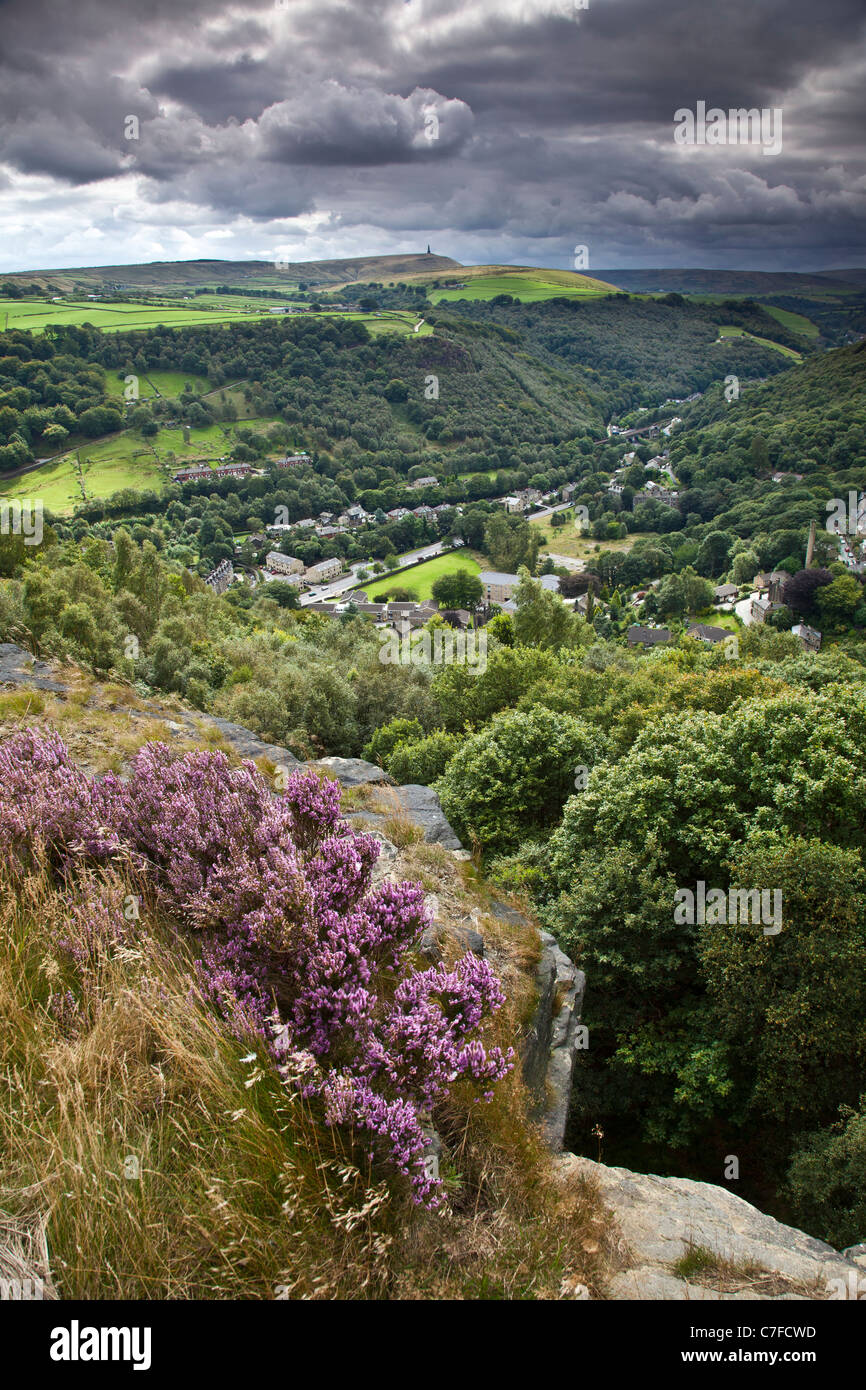 Hebden Bridge and Mytholm from Heptonstall, Calderdale, West Yorkshire - Stock Image