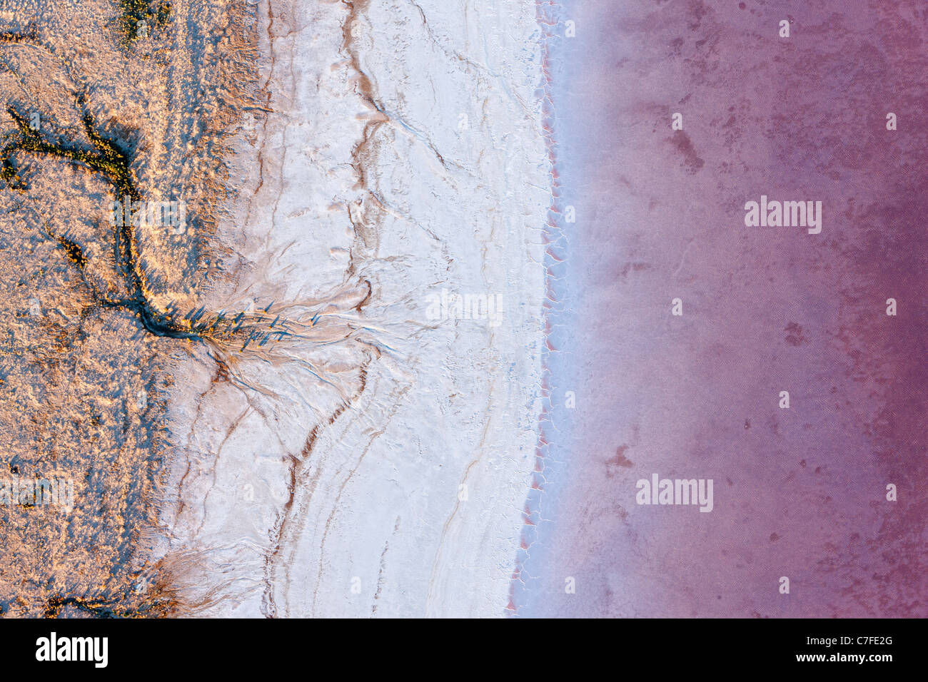 Low altitude aerial photo of shore line of Lake Eyre South, outback South Australia. - Stock Image
