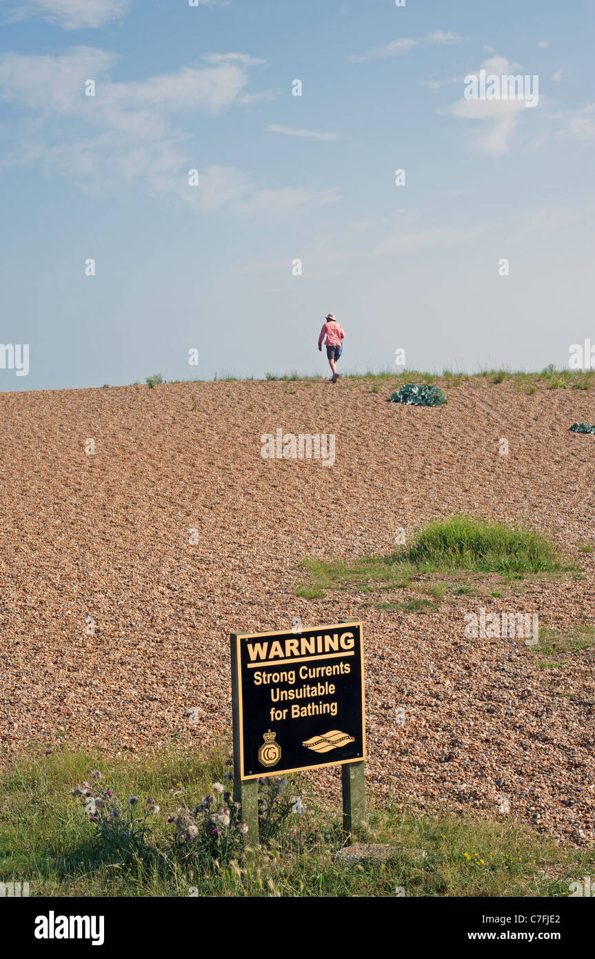 Warning strong currents unsuitable for bathing sign - Stock Image
