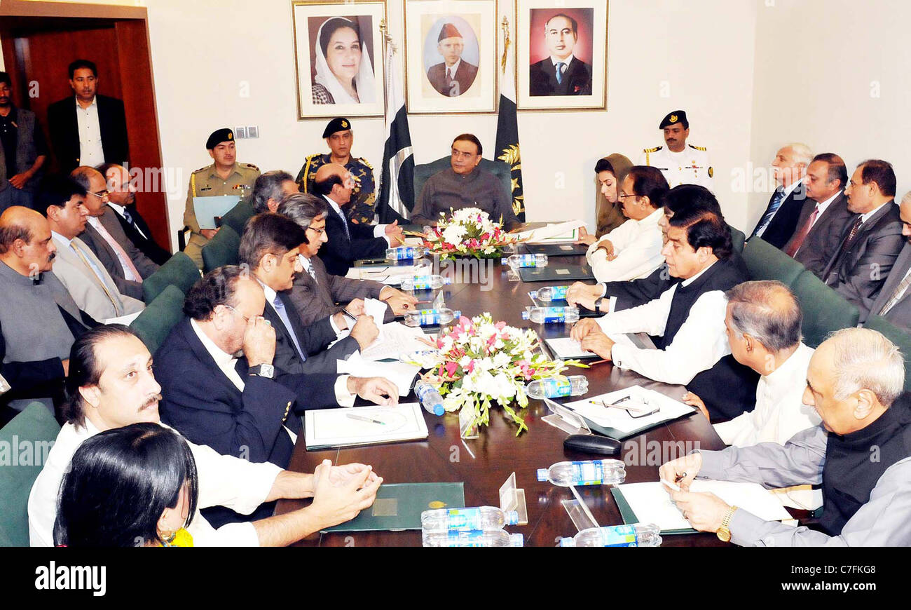 asif ali zardari chairing the meeting which reviewed situation on