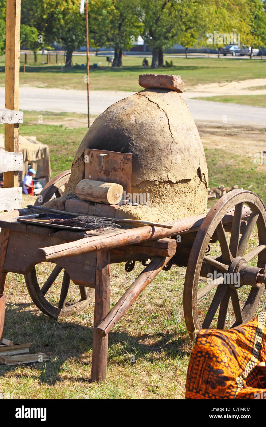 Renaissance Fair, Bjelovar, Croatia, crafts in the old way, antique oven for bread - Stock Image