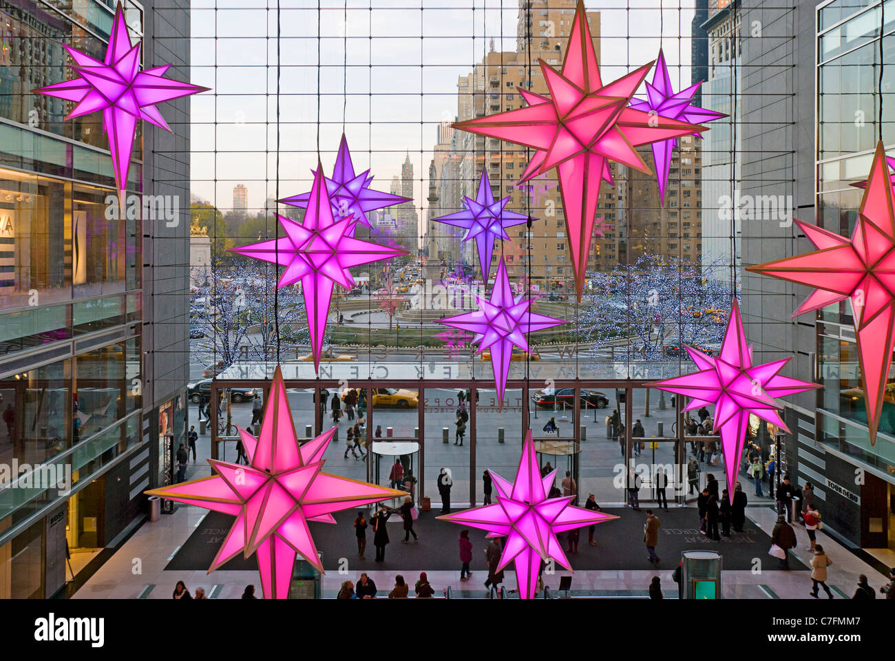 christmas decorations time warner center at columbus circle stock image