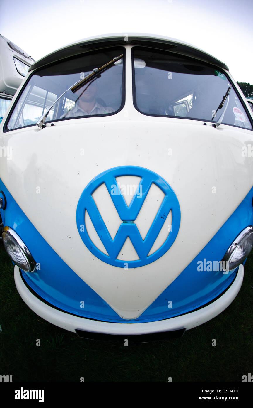 Close up fisheye view of split screen VW campervan - Stock Image
