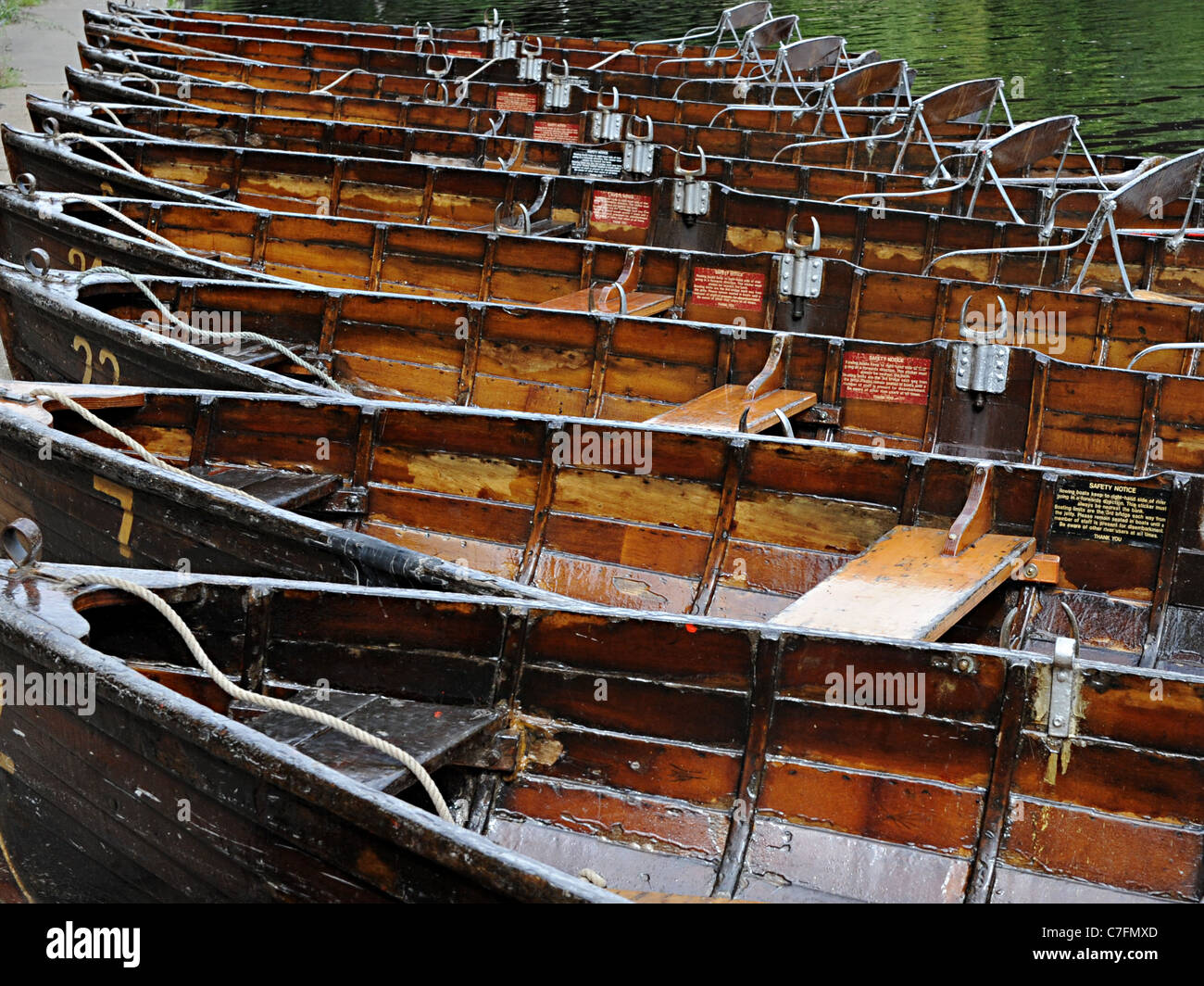 old wooden punts on the River Wear in Durham - Stock Image