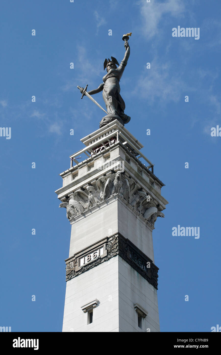 Lady Victory Statue at Monument Circle in Indianapolis - Stock Image