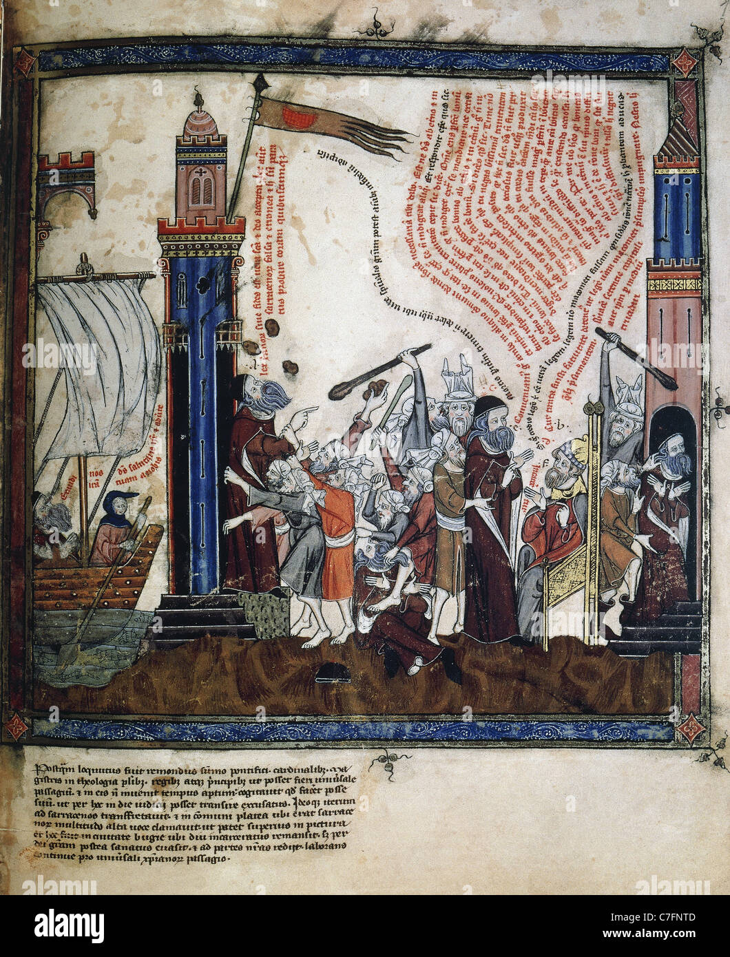 Ramon Llull (1235-1316). Ramon Llull trip to Bejaia as a missionary, his stoning and confinement in prison. Stock Photo