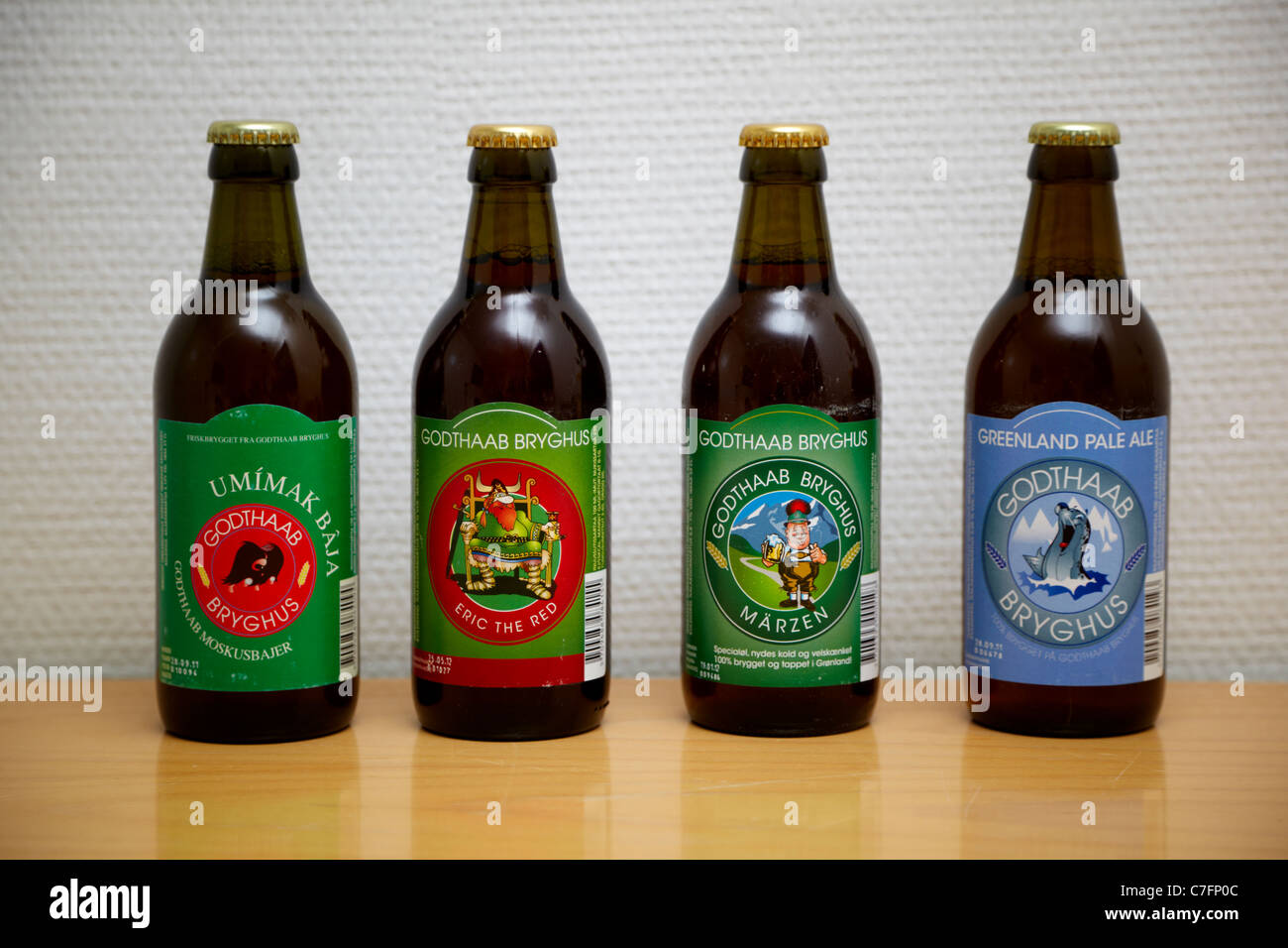 An assortment of Greenlandic beers from Godthab Bryghus brewery - Stock Image