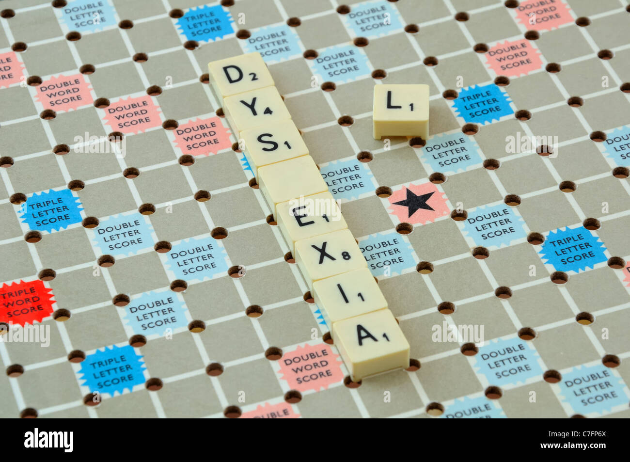 Scrabble Board Showing The Word Dyslexia With L Missing