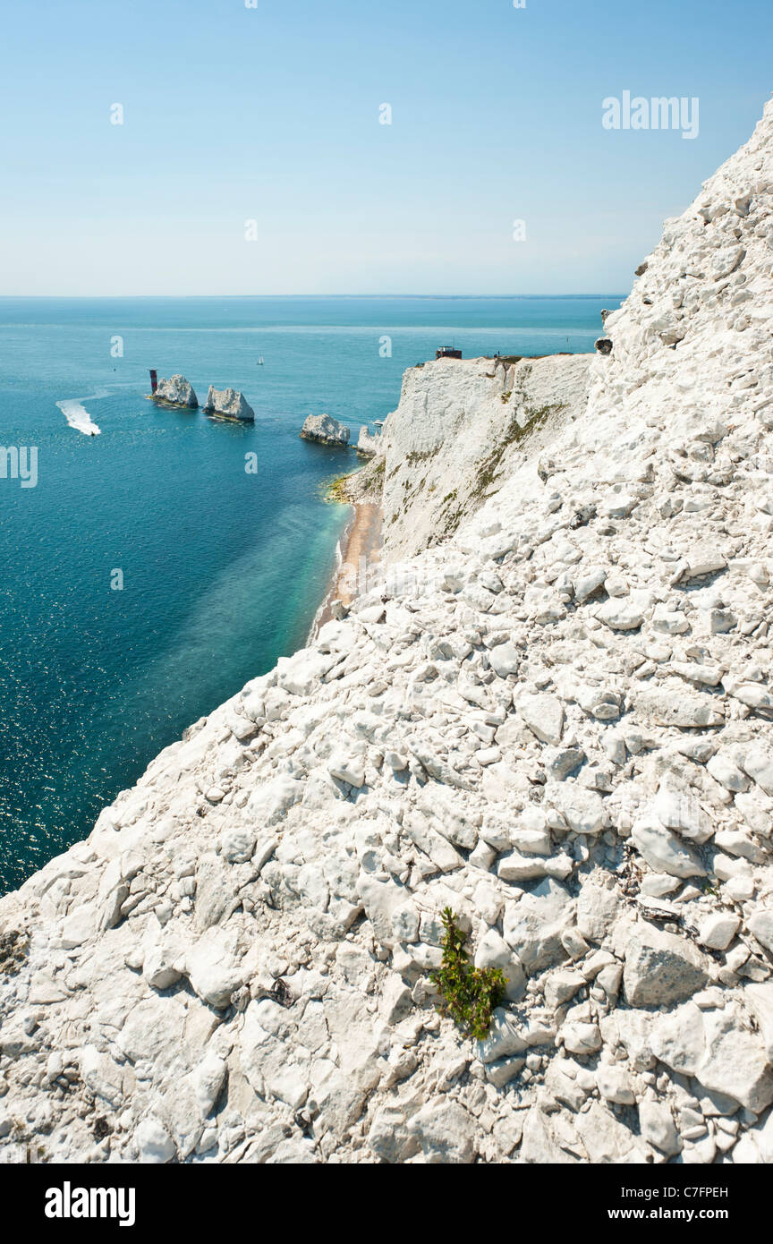 The Needles, lighthouse and chalk cliffs, Isle of Wight, UK Stock Photo