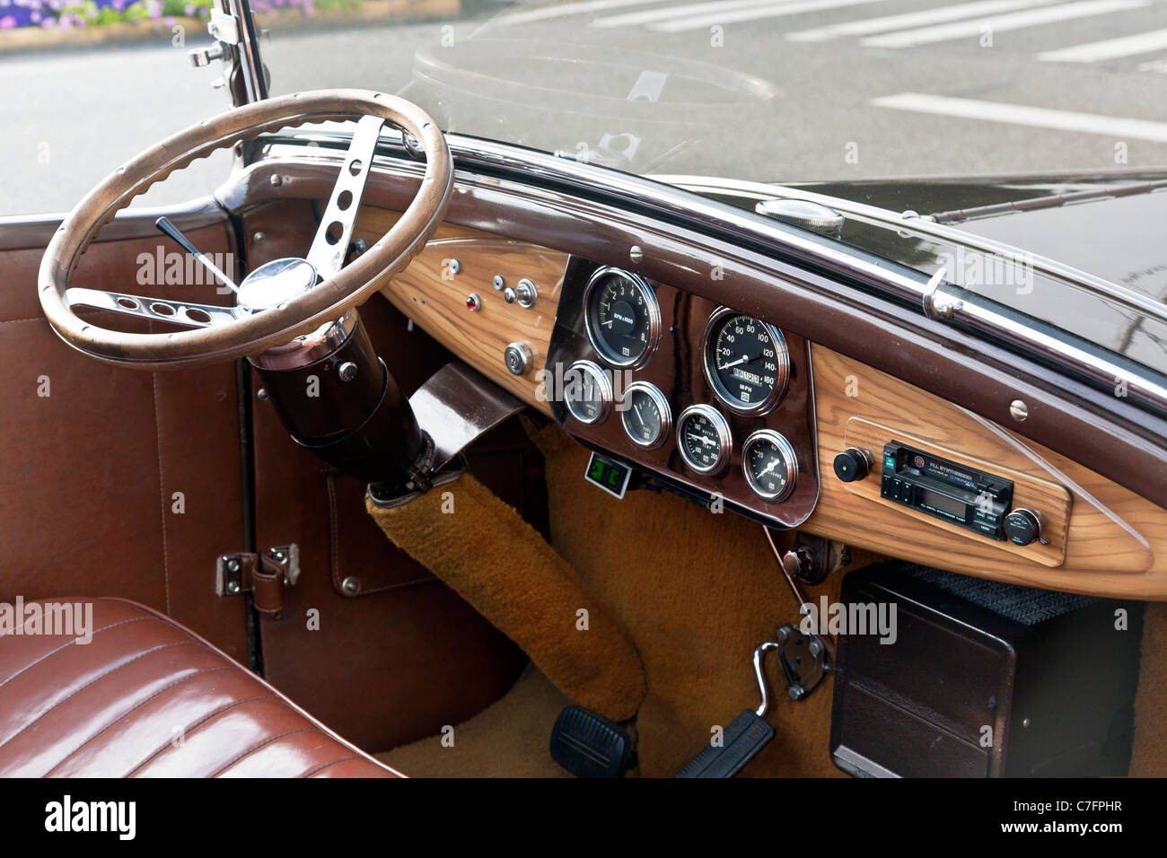 rationally designed dashboard wooden steering wheel leather stock photo 39070355 alamy