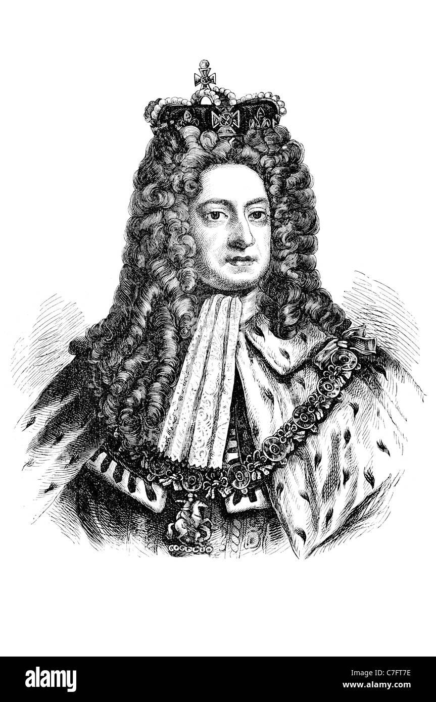 George I King Great Britain Ireland Duchy Electorate Brunswick Lüneburg British throne regal royal kingly princely - Stock Image