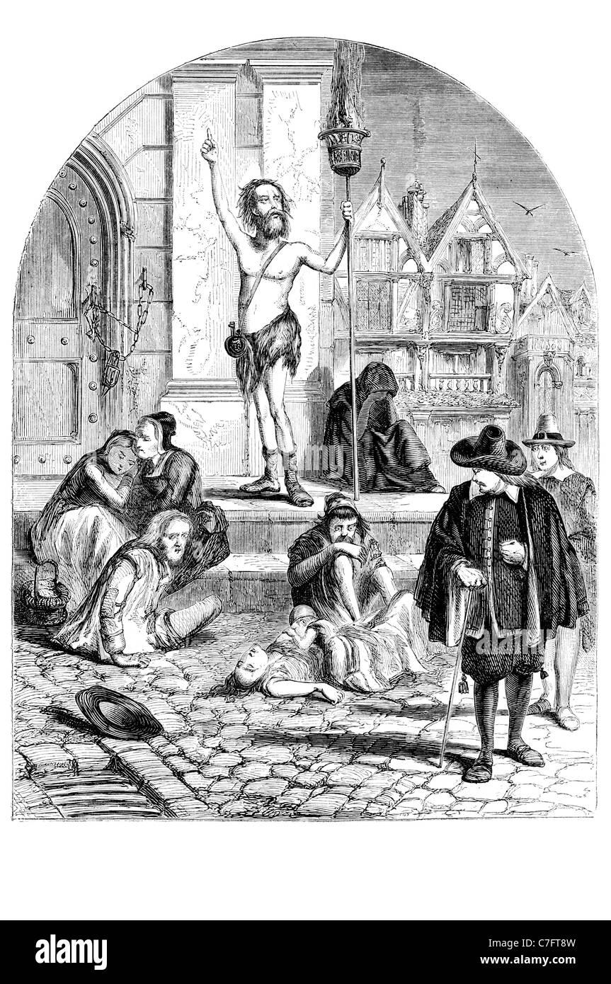 Great Plague enthusiast denouncing London Black Death 1665 1666 outbreak  disease Kingdom England killed bubonic infection bacter