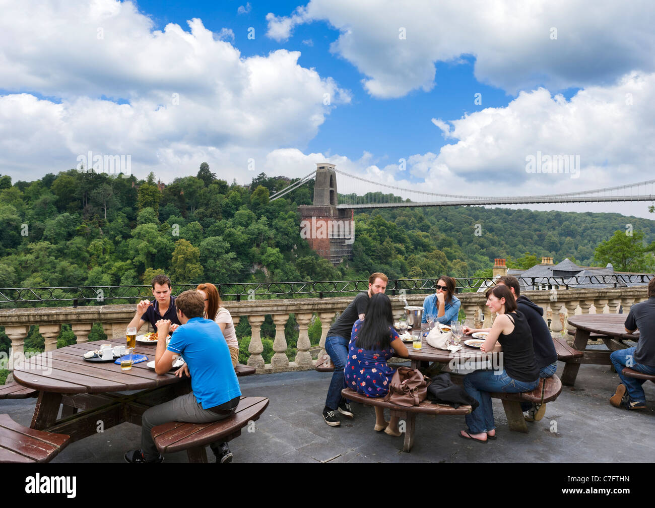 Terrace of  White Lion Pub in the Avon Gorge Hotel with Clifton Suspension Bridge behind, Sion Hill, Clifton, Bristol, - Stock Image