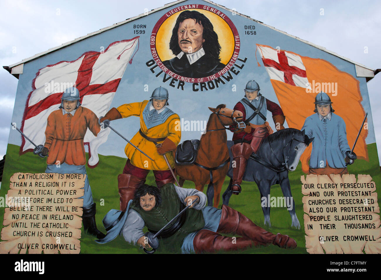 oliver cromwell protestant loyalist wall mural painting west belfast