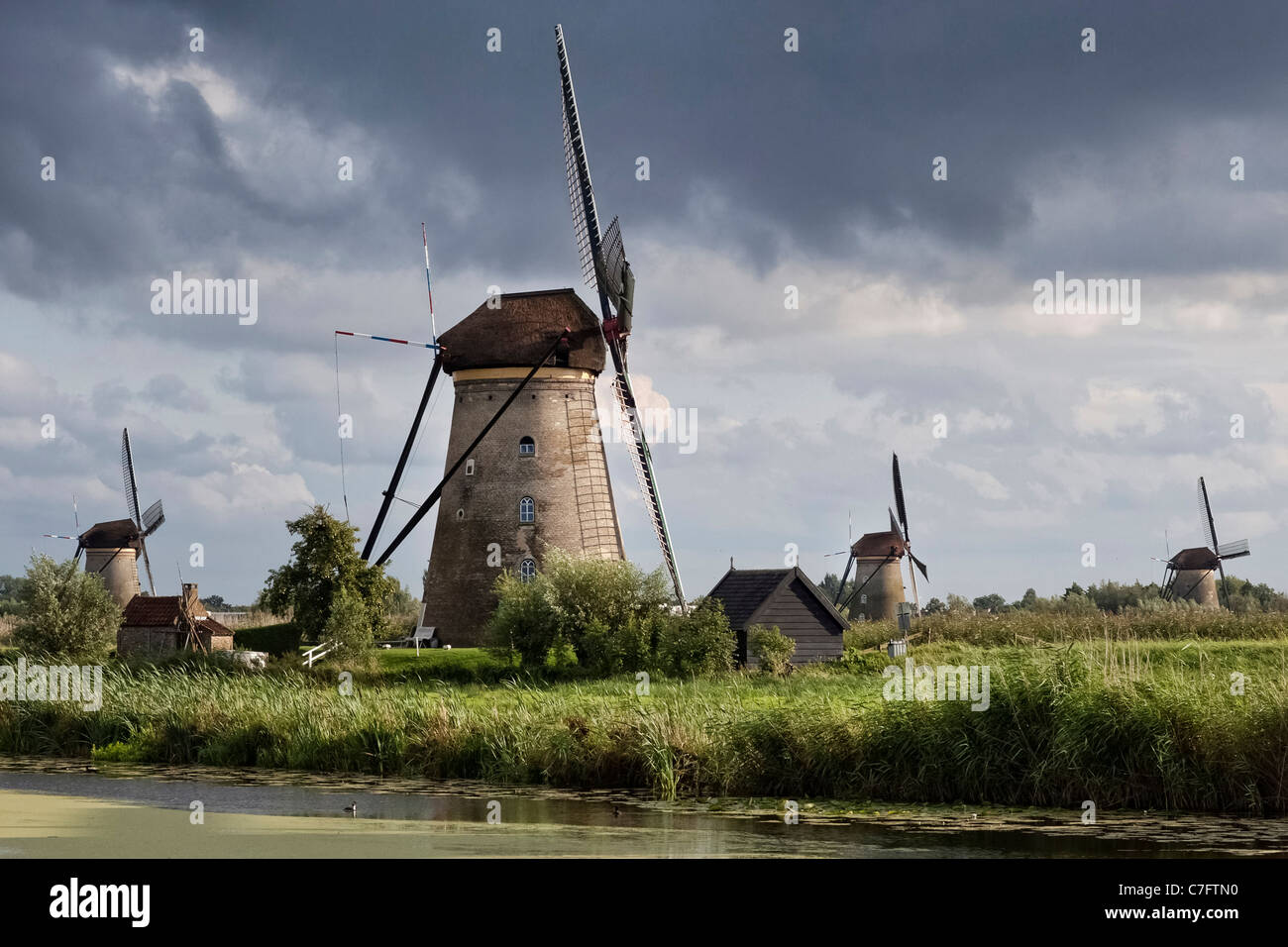 Traditional windmills at Kinderdijk in The Netherlands Stock Photo