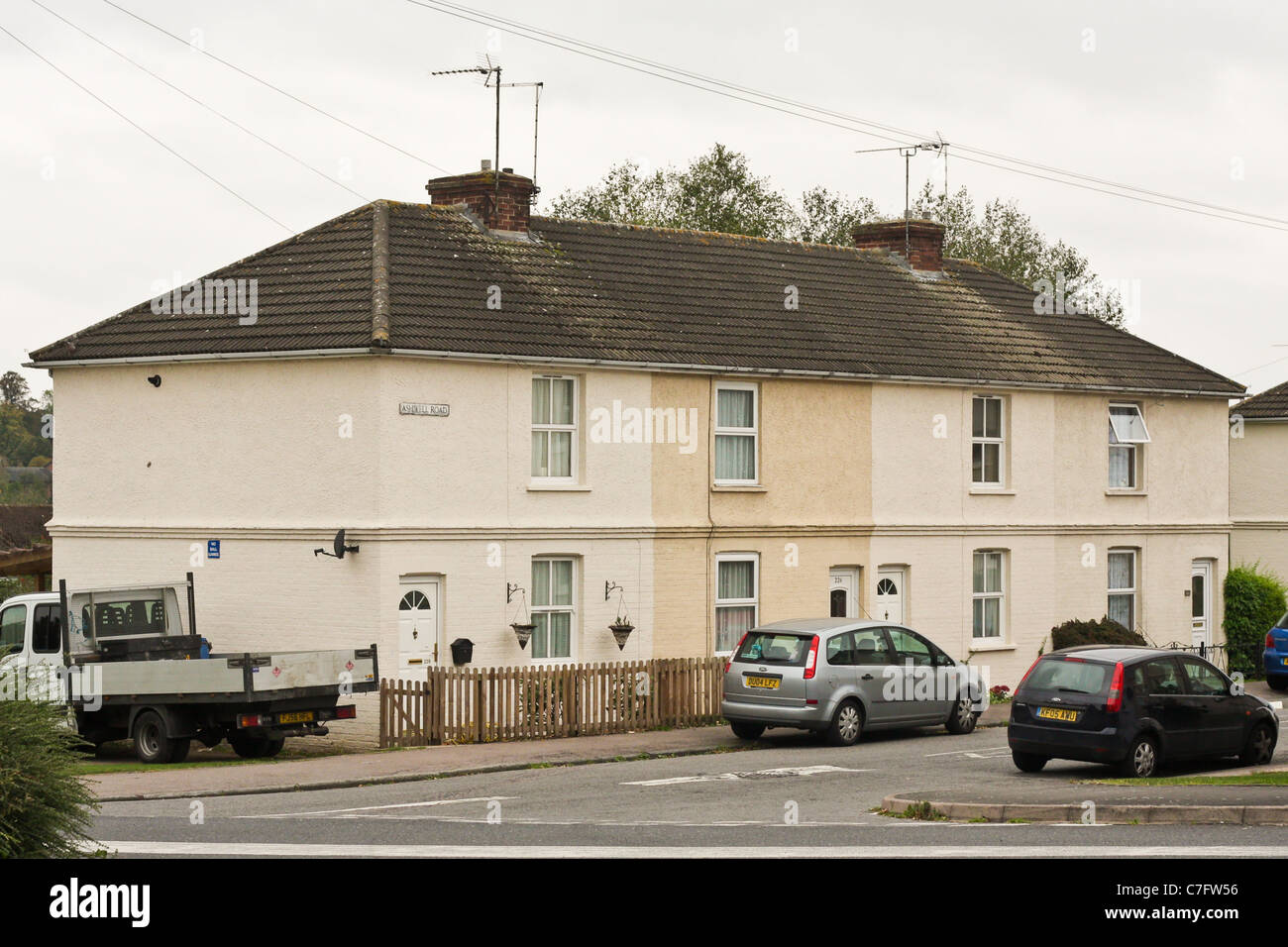 Local authority housing on Ashwell Road, Bury St Edmunds.  The area is locally known as the Priors Estate - Stock Image