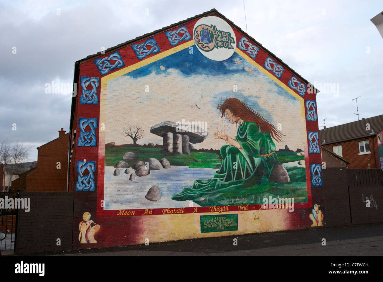 eire mythological queen ardoyne republican wall mural painting west belfast northern ireland - Stock Image