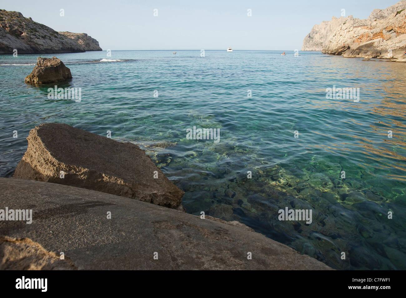 Spain - Island of Mallorca -Bay in Calla de Sant Vicenc. - Stock Image