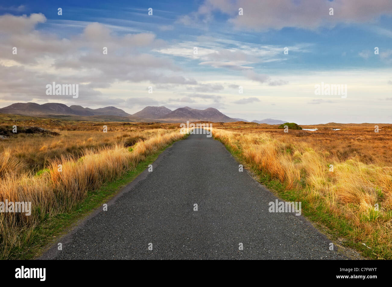 Road through bog landscape - Connemara, County Galway, Ireland - Stock Image