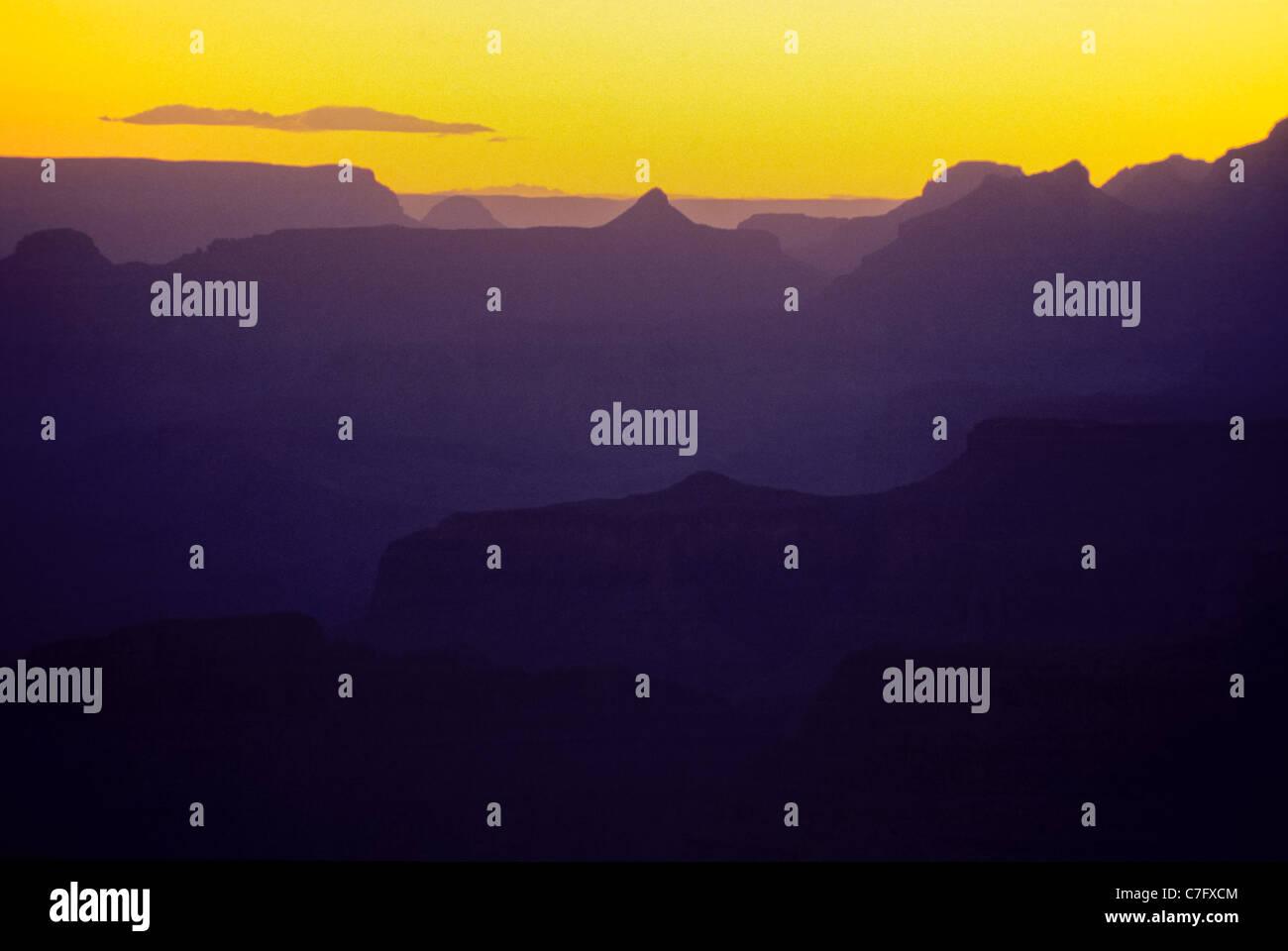 Yellow sunset sky over Grand Canyon national Park, Arizona, USA - Stock Image