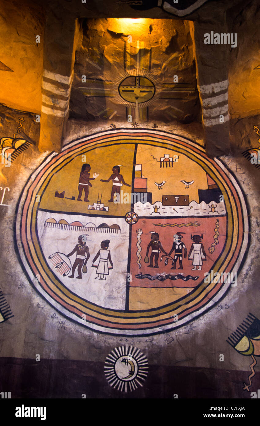 Interior of the watchtower on the south rim of Grand Canyon, Arizona, USA. Indian paintings - Stock Image