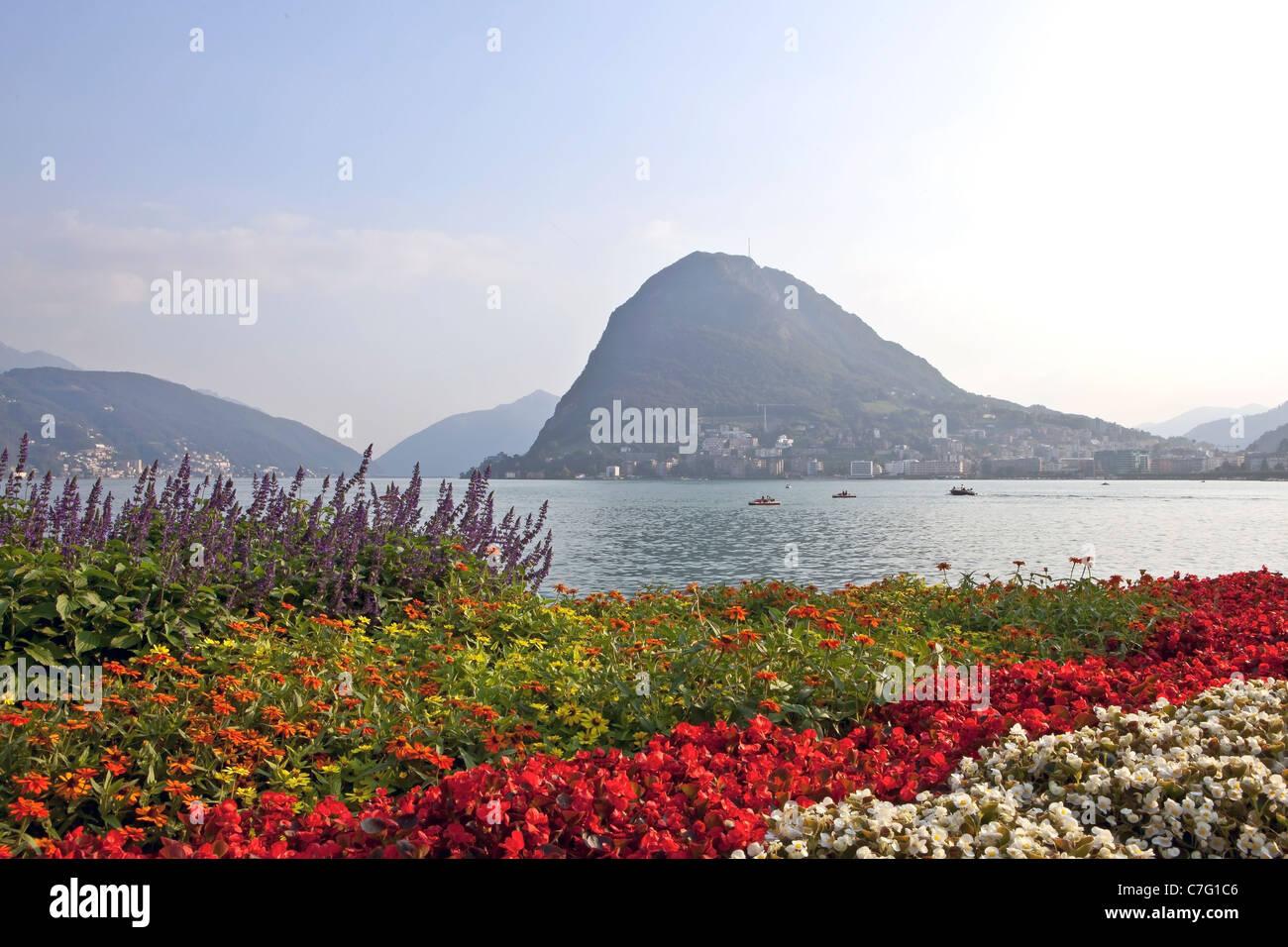 View of Monte Salvatore Parco Civico Lugano - Stock Image