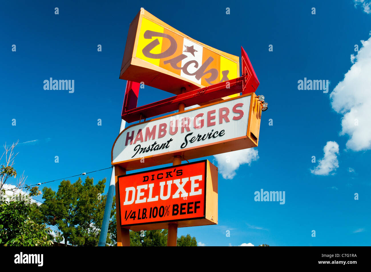 Dick's Hamburgers' vintage Neon Sign, Seattle, Washington, USA - Stock Image