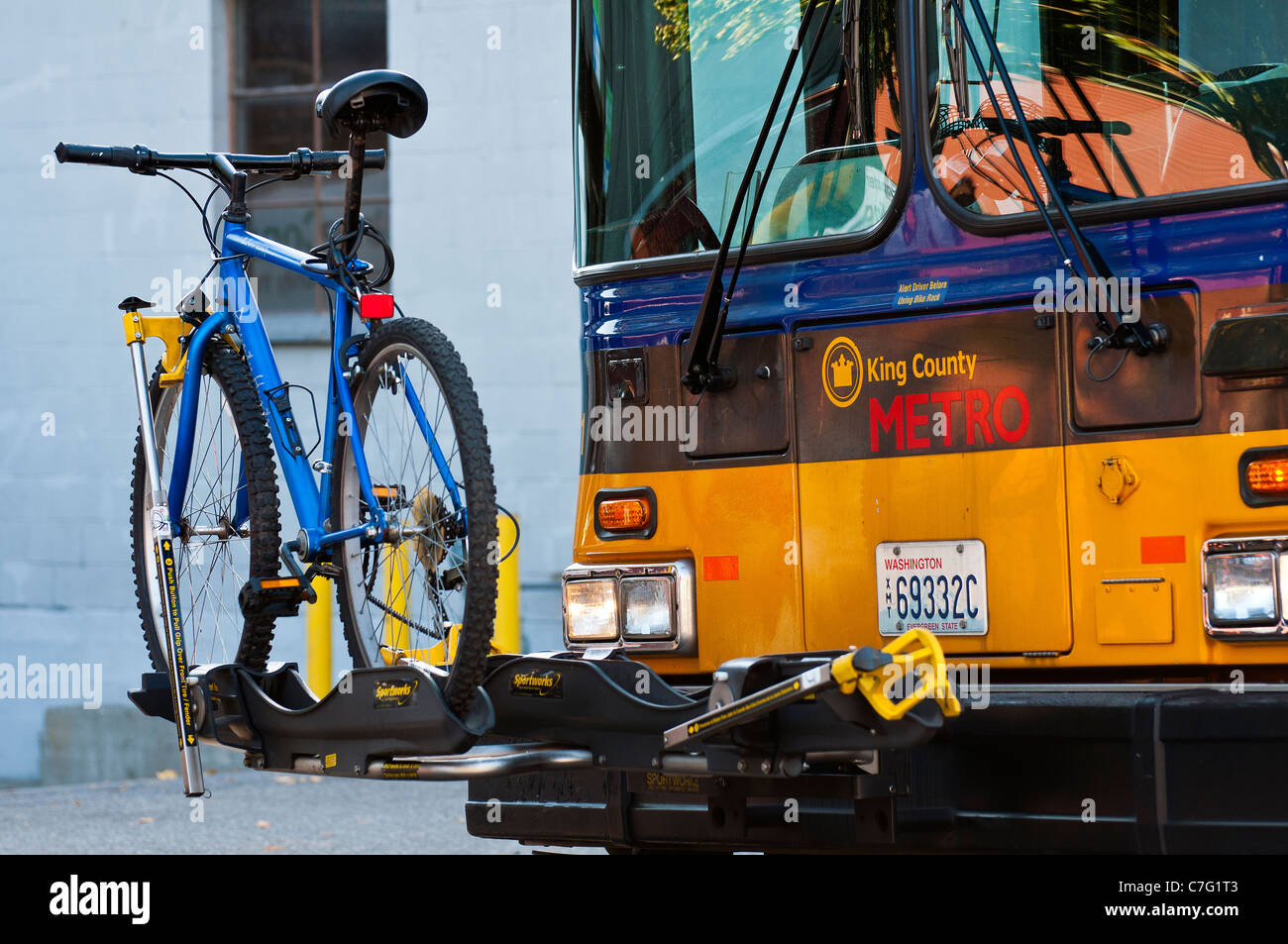 Bike rack in front of public bus, Seattle, Washington, USA - Stock Image